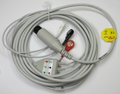 ECG Cable AAMI Straight One-Piece 3-Lead Snap