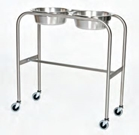 Stainless Steel Double Bowl Ring Stand with H-Brace