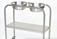 Stainless Steel Double Bowl Ring Stand with Shelf